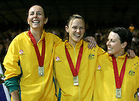 16.11.2007 Australian Liz Ellis celebrates with Sharelle McMahon and Laura Von von Bertouch during the Silver Ferns v Australia Final at the New World Netball World Champs held at Trusts Stadium Auckland New Zealand. Mandatory Photo Credit ©Michael Bradley.
