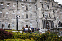 The casket of former Quebec premier Jacques Parizeau leaves the National Assembly in Quebec City on Sunday June 7, 2015. THE CANADIAN PRESS/Francis Vachon.