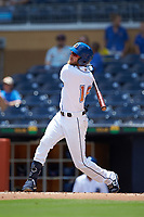Dalton Kelly (19) of the Durham Bulls follows through on his swing against the Columbus Clippers at Durham Bulls Athletic Park on June 1, 2019 in Durham, North Carolina. The Bulls defeated the Clippers 11-5 in game one of a doubleheader. (Brian Westerholt/Four Seam Images)
