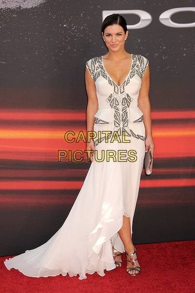 "Gina Carano.""Fast & Furious 6"" Los Angeles Premiere held at the Universal Gibson Amphitheatre, Universal City, California, USA..May 21st, 2013.full length white silver beads beaded dress sandals shoes .CAP/ADM/BP.©Byron Purvis/AdMedia/Capital Pictures"