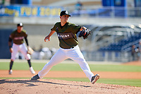 Biloxi Shuckers relief pitcher Jon Olczak (20) delivers a pitch during a game against the Jacksonville Jumbo Shrimp on May 6, 2018 at MGM Park in Biloxi, Mississippi.  Biloxi defeated Jacksonville 6-5.  (Mike Janes/Four Seam Images)
