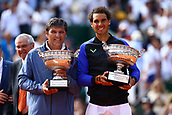 11th June 2017, Roland Garros, Paris, France;   TONI NADAL (ESP) and RAFAEL NADAL (ESP) after the men's final match of the 2017 French Open