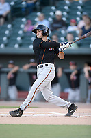 Shortstop Ryne Ogren (4) of the Delmarva Shorebirds bats in a game against the Columbia Fireflies on Thursday, May 2, 2019, at Segra Park in Columbia, South Carolina. Delmarva won, 1-0. (Tom Priddy/Four Seam Images)