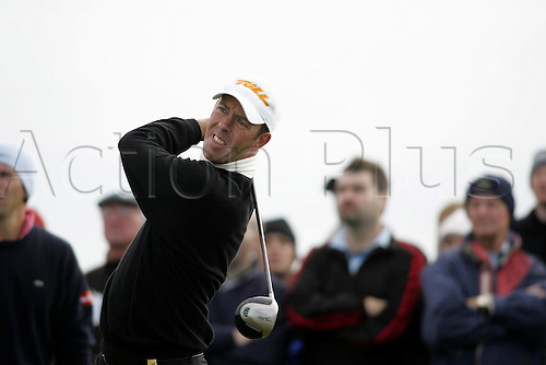 2 September 2005: Australian golfer Richard Green (AUS) looks into the distance after playing from the 5th tee on the Old Course during the final day of the Dunhill Links Championship at St Andrews, Scotland. Photo: Glyn Kirk/Actionplus....051002 man men golf