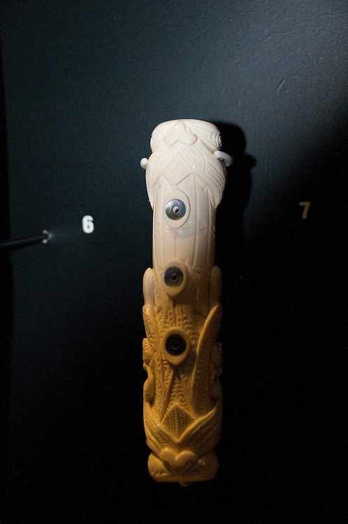 New Zealand, South Island, Nelson, Brian Flintoff, bone carver and Maori musical instrument maker at the Nelson Provincial Museum. Photo copyright Lee Foster. Photo # 126121