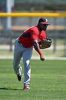 Boston Red Sox Franklin Guzman (28) during practice before a minor league spring training game against the Baltimore Orioles on March 20, 2015 at Buck O'Neil Complex in Sarasota, Florida.  (Mike Janes/Four Seam Images)