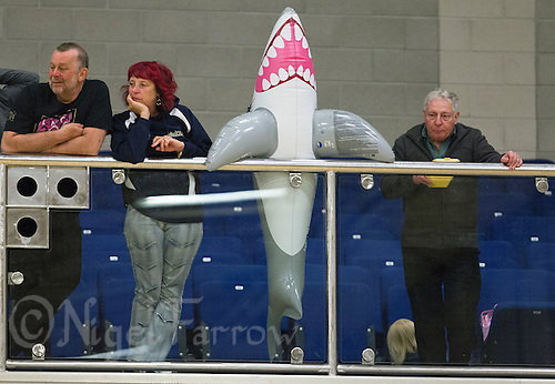 27 MAY 2013 - DONCASTER, GBR - The Solent Sharks mascot watches play during the teams match against the Gaelic Warriors from the balcony of The Dome in Doncaster, South Yorkshire during the 2013 Great Britain Wheelchair Rugby Nationals .(PHOTO (C) 2013 NIGEL FARROW)