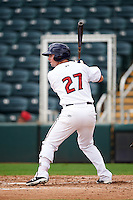 Fort Myers Miracle left fielder Daniel Kihle (27) at bat during a game against the St. Lucie Mets on August 9, 2016 at Hammond Stadium in Fort Myers, Florida.  St. Lucie defeated Fort Myers 1-0.  (Mike Janes/Four Seam Images)