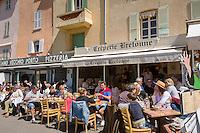 France, Provence-Alpes-Côte d'Azur, Saint-Tropez: restaurants at harbour-promenade | Frankreich, Provence-Alpes-Côte d'Azur, Saint-Tropez: Restaurants an der Hafen-Promenade