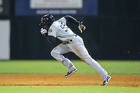 Estevan Florial (55) of the Pulaski Yankees takes off for second base against the Danville Braves at American Legion Post 325 Field on August 1, 2016 in Danville, Virginia.  The Yankees defeated the Braves 4-1.  (Brian Westerholt/Four Seam Images)