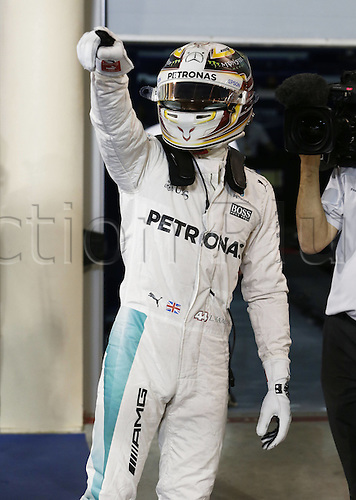 02.04.2016. Sakhir, Bahrain. F1 Grand Prix of Bahrain, qualification Saturday.   44 Lewis Hamilton (GBR, Mercedes AMG Petronas Formula One Team) celebrates taking pole