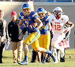 SIOUX FALLS, SD - NOVEMBER 7:  Jesse Bobbit #7 from South Dakota State University returns an interception past Christian Gibbs #12 from Illinois State in the first half Saturday in the final game at Coughlin Alumni Stadium in Brookings. (Photo by Dave Eggen/Inertia)