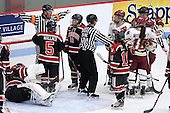 No goal - Florence Schelling (Northeastern - 41), Kelly Wallace (Northeastern - 5), Sonia St. Martin (Northeastern - 12), Alex Carpenter (BC - 5), Rachel Llanes (Northeastern - 11), Ashley Motherwell (BC - 18), Emily Field (BC - 15) - The Northeastern University Huskies defeated the Boston College Eagles in a shootout on Monday, January 31, 2012, in the opening round of the 2012 Women's Beanpot at Walter Brown Arena in Boston, Massachusetts. The game is considered a 1-1 tie for NCAA purposes.