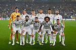 Team photo of Real Madrid with Thibaut Courtois, Sergio Ramos, Toni Kroos, Raphael Varane, Carlos Henrique Casimiro, Karim Benzema, Fede Valverde, Francisco Alarcon 'Isco', Dani Carvajal, Marcelo Vieira and Eden Hazard during UEFA Champions League match between Real Madrid and Paris Saint-Germain FC at Santiago Bernabeu Stadium in Madrid, Spain. November 26, 2019. (ALTERPHOTOS/A. Perez Meca)