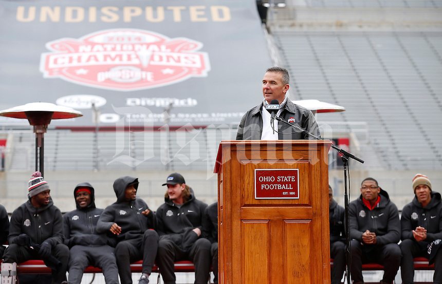 Ohio State Buckeyes head coach Urban Meyer addresses the crowd during the celebration for winning the national championship at Ohio Stadium on Jan. 24, 2015. (Adam Cairns / The Columbus Dispatch)