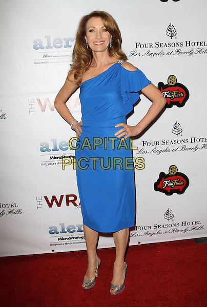 Jane Seymour.The Wrap's 3rd Annual Pre-Oscar Party Held At Culina Restaurant at the Four Seasons hotel, Beverly Hills, California, USA..February 22nd, 2012.full length blue dress one shoulder hands on hips.CAP/ADM/KB.©Kevan Brooks/AdMedia/Capital Pictures.