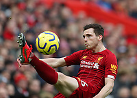 1st February 2020; Anfield, Liverpool, Merseyside, England; English Premier League Football, Liverpool versus Southampton; Andy Robertson of Liverpool makes an overhead clearance