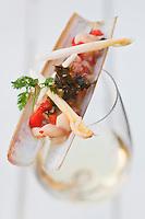 Europe/France/Bretagne/29/Finistère/Roscoff: Tartare de pieds de couteaux, recette de Loïc le Bail du restaurant Le Yachtman à l'Hôtel Brittany