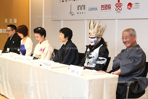 May 10, 2010 - Tokyo, Japan - (L-R) Takeharu kunimoto, Yoko Nishi, Setsuko Tamagusuku, Yukihiro Isso, Demon Kogure and Man Nomura pose for the pictures during a press conference in Tokyo on May 10, 2010. Japanese traditional actors, actress and musicians will be performing at Expo 2010 Shanghai between June 12-16. 255 countries and international organizations have confirmed their participation at Expo 2010 and some 70 million visitors are expected to attend in the six months before it closes on Oct. 31.
