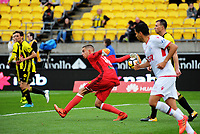 Keegan Smith in action during the A-League football match between Wellington Phoenix and Adelaide United FC at Westpac Stadium in Wellington, New Zealand on Sunday, 8 October 2017. Photo: Dave Lintott / lintottphoto.co.nz