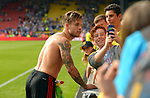 Kiko Femenia of Watford poses with fans at the end of the premier league match at the Vicarage Road Stadium, Watford. Picture date 26th August 2017. Picture credit should read: Robin Parker/Sportimage