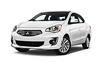 Stock pictures of low aggressive front three quarter view of 2018 Mitsubishi Mirage-G4 SE-CVT 4 Door Sedan Low Aggressive