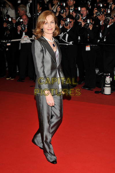 "ISABELLE HUPPERT.""Precious"" premiere at the Grand Theatre Lumiere .62nd International Cannes Film Festival.Cannes, France. 15th May 2009.full length grey gray silver suit trousers silk jacket clutch bag black .CAP/PL.©Phil Loftus/Capital Pictures"