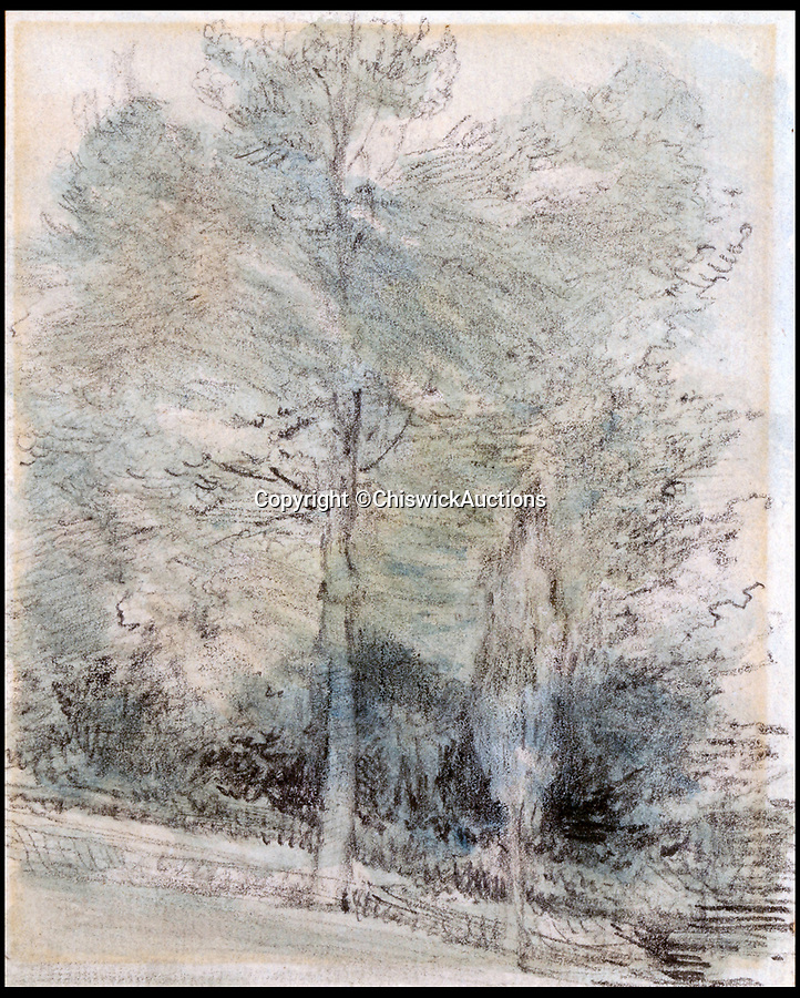 BNPS.co.uk (01202 558833)<br /> Pic:  ChiswickAuctions/BNPS<br /> <br /> 'Study of trees', 'thought to be ' by Constable - this drawing didn't sell at the auction.<br /> <br /> Two previously unknown drawings by English artist John Constable that hung above a connoisseurs's bed for 50 years have sold for £115,000.<br /> <br /> The small sketches of a woodland glade belonged to the late playwright Christopher Fry and were found by his son Tam while clearing out his father's home.<br /> <br /> Mr Fry Snr placed the two pen and ink drawings on his bedroom wall after acquiring them in the 1950s.<br /> <br /> After his death in 2005 aged 97, the drawings were placed in a cardboard box and left in a spare room.<br /> <br /> Tam Fry, a retired BBC TV director, did not realise who the artist was at first until his daughter spotted the name John Constable RA inscribed on the mounts.