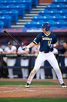 Michigan Wolverines designated hitter Drew Lugbauer (17) at bat during the second game of a doubleheader against the Canisius College Golden Griffins on February 20, 2016 at Tradition Field in St. Lucie, Florida.  Michigan defeated Canisius 3-0.  (Mike Janes/Four Seam Images)