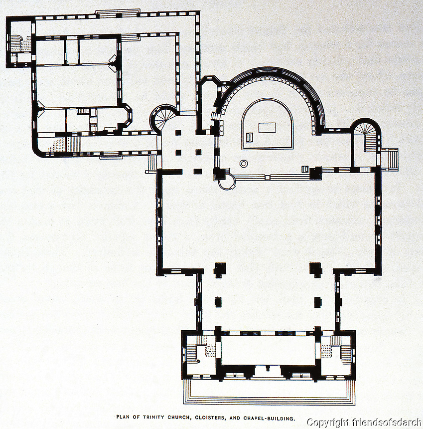 H.H. Richardson:  Trinity Church, Boston, MA--plan 1873-77.  Cloister and Chapel Building.