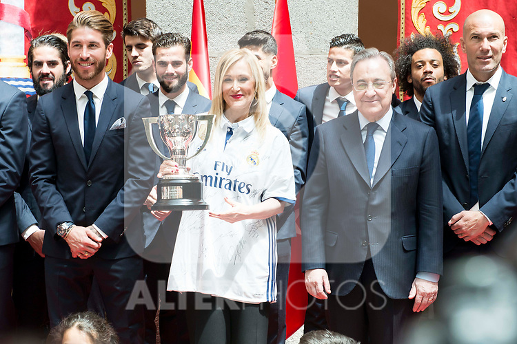 Real Madrid's Sergio Ramos, Nacho Fernandez, president Florentino Perez and coach Zinedine Zidane and President of the community Cristina Cifuentes at Seat of Government in Madrid, May 22, 2017. Spain.<br /> (ALTERPHOTOS/BorjaB.Hojas)