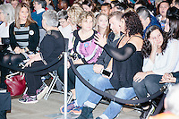 People gather in the audience before Democratic presidential candidate and former First Lady and Secretary of State Hillary Rodham Clinton speaks at the Women's Economic Opportunity Summit at Southern New Hampshire University in Hooksett, New Hampshire.