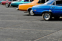 American classic cars from 1970s seen parked on the stand in El Mojan, Venezuela, 20 March 2006.