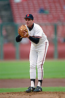 SAN FRANCISCO, CA - John Burkett of the San Francisco Giants pitches during a game at Candlestick Park in San Francisco, California in 1990. Photo by Brad Mangin