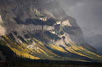 Sunlit mountain range along Icefields Parkway, Banff NP