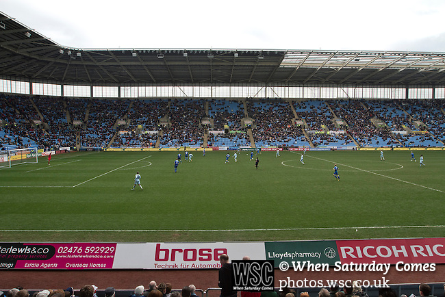 Coventry City 1 Birmingham City 1, 10/03/2012. Ricoh Arena, Championship. The action rages during the second half at the Ricoh Arena, as Coventry City host Birmingham City in an Npower Championship fixture. The match ended in a one-all draw, watched by a crowd of 22,240. The Championship was the division below the top level of English football. Photo by Colin McPherson.