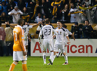 CARSON, CA - November 20, 2011: LA Galaxy forward Robbie Keane (14) celebrates the Galaxy goal during the MLS Cup match between LA Galaxy and Houston Dynamo at the Home Depot Center in Carson, California. Final score LA Galaxy 1, Houston Dynamo 0.