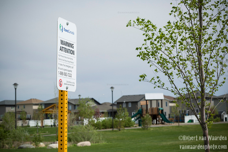 The TransCanada mainline runs right through the newly developed suburb of Harbour Landing in Regina. Many of the residents of Harbour Landing don't know that there are pipelines under their feet carrying oil, natural gas and potentially diluted bitumen. The pipeline corridor is marked as an 'environmental reserve' on the maps of Harbour Landing. (Credit: Robert van Waarden - http://alongthepipeline.com)