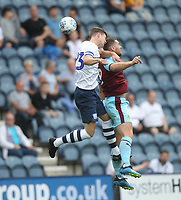 Preston North End's Paul Huntington battles with Burnley's Sam Vokes<br /> <br /> Photographer Mick Walker/CameraSport<br /> <br /> Football Pre-Season Friendly - Preston North End  v Burnley FC  - Monday 23st July 2018 - Deepdale  - Preston<br /> <br /> World Copyright &copy; 2018 CameraSport. All rights reserved. 43 Linden Ave. Countesthorpe. Leicester. England. LE8 5PG - Tel: +44 (0) 116 277 4147 - admin@camerasport.com - www.camerasport.com