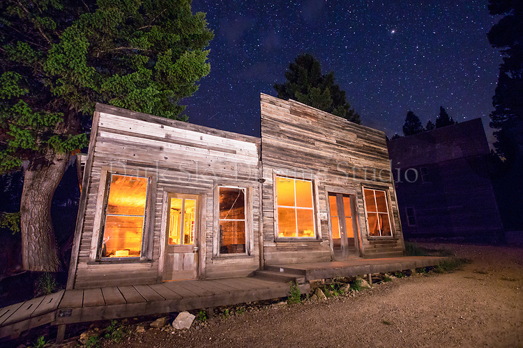 Davy's Store at Night - Garnet Ghost Town, MT