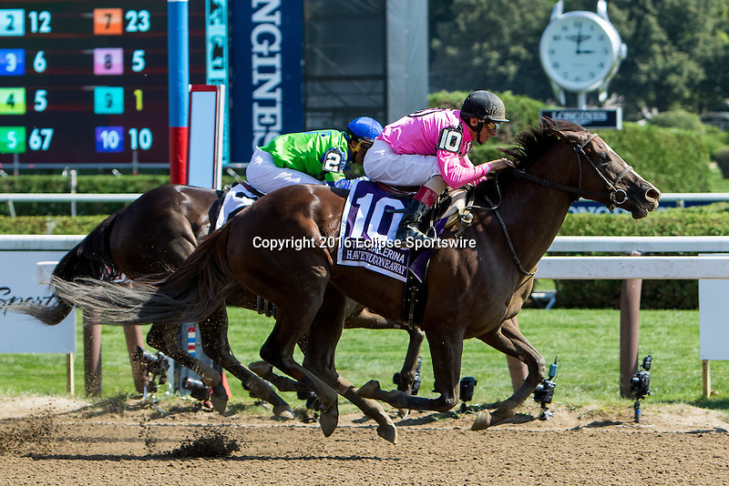 SARATOGA SPRINGS - AUGUST 27: Haveyougoneaway #10, ridden by John Velazquez, wins the Ballerina Stakes on Travers Stakes Day at Saratoga Race Course on August 27, 2016 in Saratoga Springs, New York. (Photo by Sue Kawczynski/Eclipse Sportswire/Getty Images)
