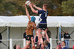 Leinster flanker Peadar Timmins and Quins lock Shaun Jones compete for the lineout ball.<br /> British &amp; Irish Cup<br /> Carmarthen Quins v Leinster A<br /> Carmarthen Park<br /> 25.10.14<br /> &copy;Steve Pope-SPORTINGWALES
