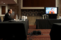 """United States Senator Mazie Hirono (Democrat of Hawaii) remotely questions former US Deputy Attorney General Rod Rosenstein during a US Senate Judiciary Committee hearing to discuss the FBI's """"Crossfire Hurricane"""" investigation on Wednesday, June 3, 2020.<br /> Credit: Greg Nash / Pool via CNP/AdMedia"""