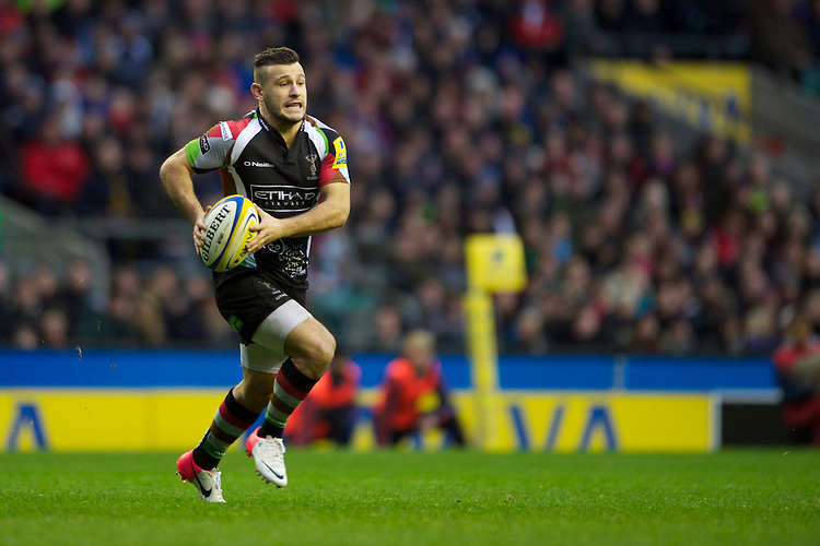 Danny Care of Harlequins runs in a try during the Aviva Premiership match between Harlequins and London Irish at Twickenham on Saturday 29th December 2012 (Photo by Rob Munro).