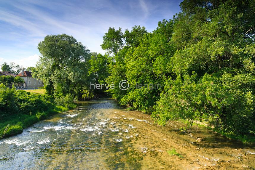France, Aube (10), Champagne, Parc naturel régional de la Forêt d'Orient, lac d'Orient, Dienville, la rivière Aube