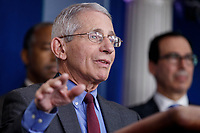 Director of the National Institute of Allergy and Infectious Diseases Dr. Anthony Fauci responds to a question from the news media during a COVID-19 coronavirus press conference at the White House in Washington, DC, USA, 14 March 2020. To date there are 2175 confirmed cases of COVID-19 coronavirus in the US with 50 deaths.<br /> Credit: Shawn Thew / Pool via CNP/AdMedia