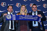 15 January 2016: Christen Westphal, with head coach Matt Beard (left) and general manager Lee Billiard (right), was taken with the #3 overall pick by the Boston Breakers. The 2016 NWSL College Draft was held at The Baltimore Convention Center in Baltimore, Maryland as part of the annual NSCAA Convention.
