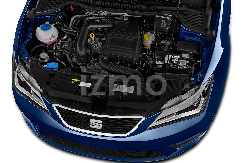 Car Stock 2016 Seat Ibiza ST Style 5 Door Wagon Engine  high angle detail view