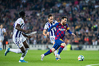 29th October 2019; Camp Nou, Barcelona, Catalonia, Spain; La Liga Football, Barcelona versus Real Valladolid; Lionel Messi breaks past the defensive line against Valladolid - Editorial Use