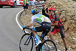 White Jersey Miguel Angel Lopez Moreno (COL) Astana attacks from the peloton on the final Cat 1 climb up to Observatorio Astrofisico de Javalambre during Stage 5 of La Vuelta 2019 running 170.7km from L'Eliana to Observatorio Astrofisico de Javalambre, Spain. 28th August 2019.<br /> Picture: Eoin Clarke | Cyclefile<br /> <br /> All photos usage must carry mandatory copyright credit (© Cyclefile | Eoin Clarke)